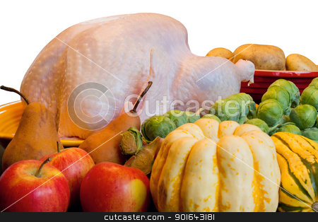 Thanksgiving Turkey Dinner Cooking Ingredients Closeup stock photo, Thanksgiving Turkey Dinner Cooking Ingredients with Squash Apples Brussels Sprouts Pears and Potatoes Closeup by Jit Lim