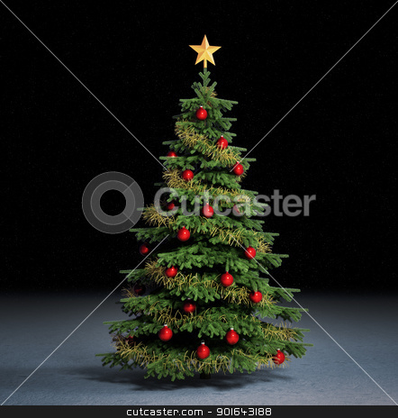 christmass tree  stock photo, Christmas illustration with a decorated christmass tree   by Mopic