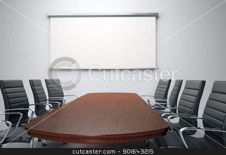 Conference room stock photo, Conference room with empty chairs and a projector screen by Mopic