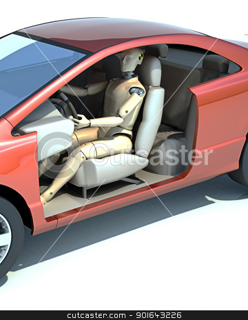 Crash test dummy behind the wheel stock photo, Crash test dummy behind the wheel  by Mopic