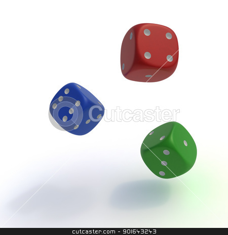 Colorful dice stock photo, Colorful dice - random outcome and gambling  concept illustration   by Mopic