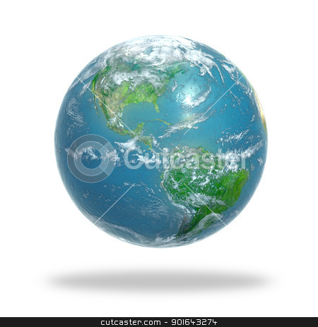 Earth globe stock photo, Earth globe covered with clouds - 3d rendering   by Mopic