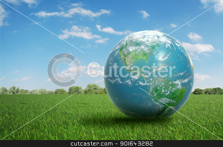 Earth on a green  field of grass stock photo, Realistic Earth on a green  field of grass by Mopic