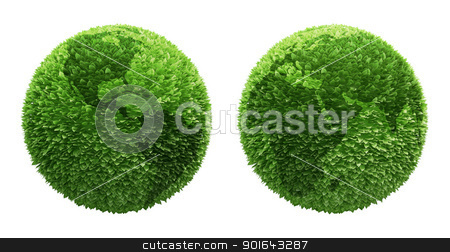 Earth globe covered with leafs  stock photo, Earth globe covered with leafs with outlines of the continents by Mopic