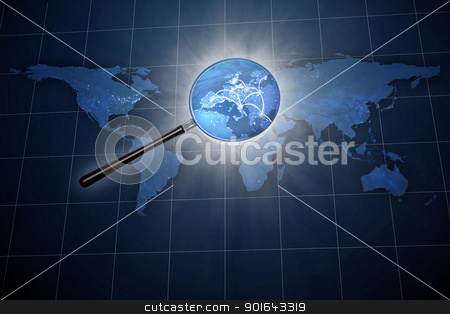 Magnifying glass over the world map stock photo, Magnifying glass over the world map - Europe zoom by Mopic