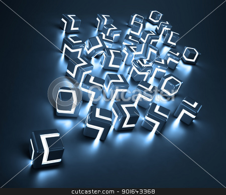 Abstract glowing cubes stock photo, Abstract glowing cubes by Mopic