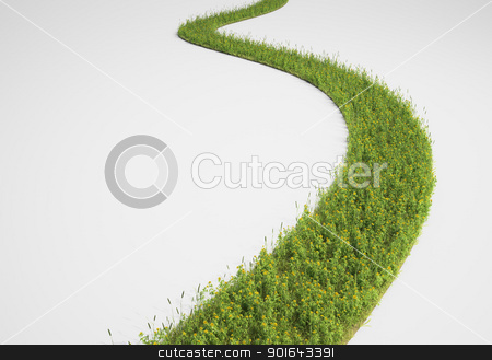Abstract pathway made of grass and yellow flowers stock photo, Abstract pathway made of grass and yellow flowers by Mopic