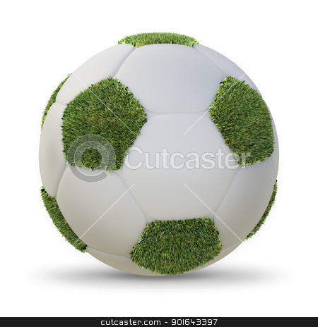 Grass covered football stock photo, Grass covered football - football abstract illustration  by Mopic