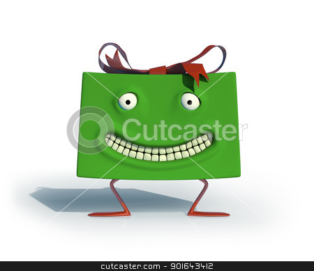 Green happy, smiling gift - 3d illustration   stock photo, Green happy, smiling gift - 3d illustration  