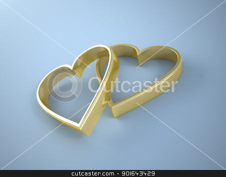 Two gold heart shaped wedding rings on blue background stock photo, Two gold heart shaped wedding rings on blue background  by Mopic