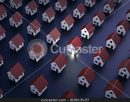 One lit house at night stock photo, One lit house at night by Mopic