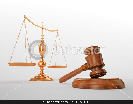 Gavel and scales - justice concept stock photo, Gavel and scales - justice concept by Mopic