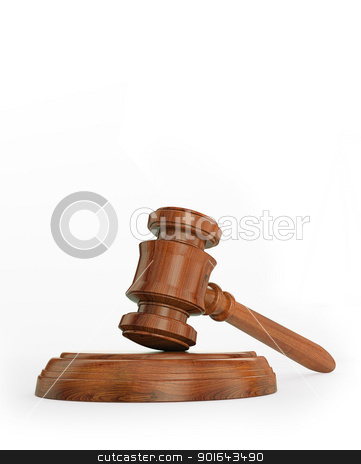 Gavel isolated on white stock photo, Gavel isolated on white by Mopic