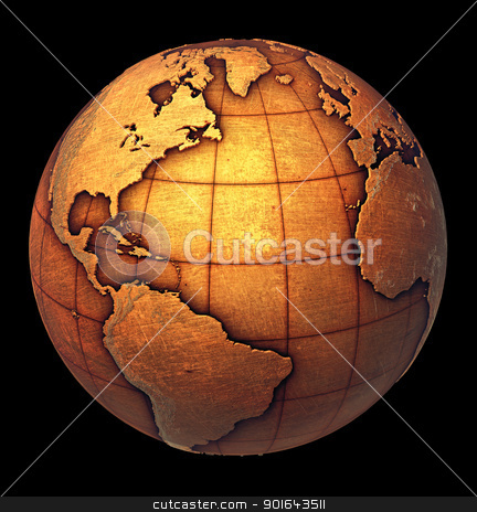 Earth globe made of grunge copper like metal stock photo, Earth globe made of grunge copper like metal by Mopic