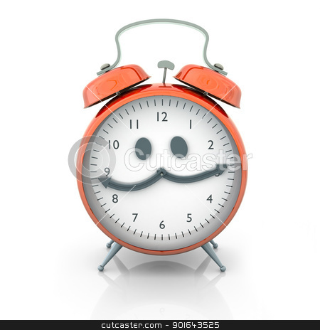 Orange Alarm clock cartoon character on a white background stock photo, Orange Alarm clock cartoon character on a white background  by Mopic