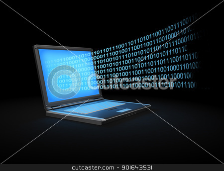 Laptop with a binary stream of data coming out of the screen stock photo, Laptop with a binary stream of data coming out of the screen by Mopic