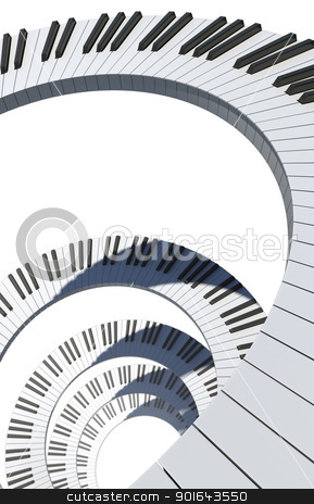 Piano keyboard spiral - musical abstract image stock photo, Piano keyboard spiral - musical abstract image by Mopic