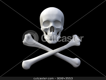 3D rendered skull and bones forming a pirate flag stock photo, 3D rendered skull and bones forming a pirate flag by Mopic