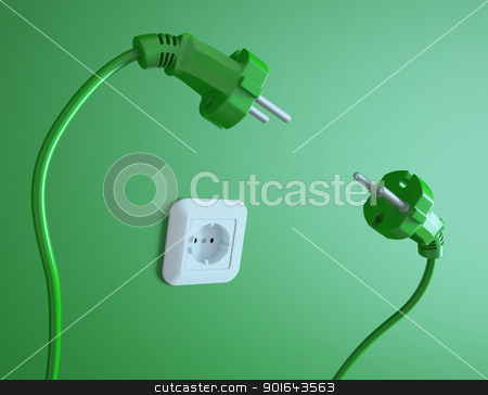 Two plugs struggle for the electric socket stock photo, Two plugs struggle for the electric socket by Mopic