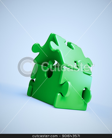 House symbol build out of jigsaw puzzle pieces stock photo, House symbol build out of jigsaw puzzle pieces by Mopic