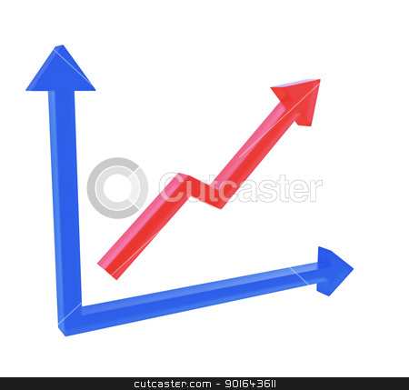 Red 3D graph on a chart with blue axis stock photo, Red 3D graph on a chart with blue axis  by Mopic