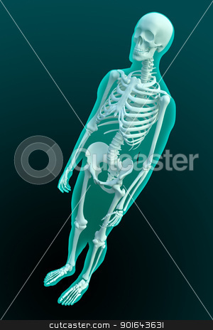 3D rendering of a male figure with visible skeleton structure stock photo, 3D rendering of a male figure with visible skeleton structure by Mopic