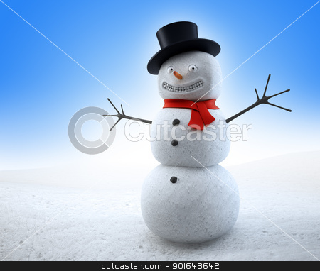 Smiling snowman with a red scarf and a top-hat stock photo, Smiling snowman with a red scarf and a top-hat by Mopic