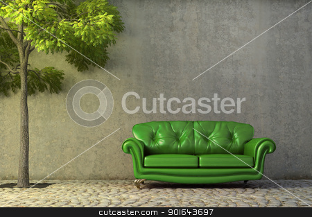 Abstract scene with a couch  stock photo, Abstract scene with a couch on a side walk by Mopic