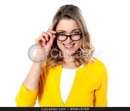 Happy teenage girl with eyeglasses stock photo, Happy teenage girl with eyeglasses isolated on white background by Ishay Botbol