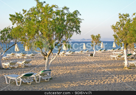 Greece. Kos island. Tigaki beach stock photo, Greece. Kos island. Tigaki beach in the evening by Morozova Oxana
