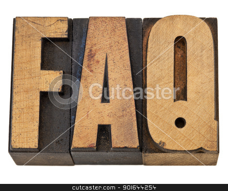 frequently asked questions - FAQ stock photo, FAQ - frequently asked questions acronym - isolated text in vintage letterpress wood type by Marek Uliasz