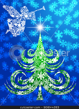 Angel with Trumpet Over Christmas Tree stock photo, Snowflakes Angel with Trumpet Over Christmas Tree Illustration by Jit Lim