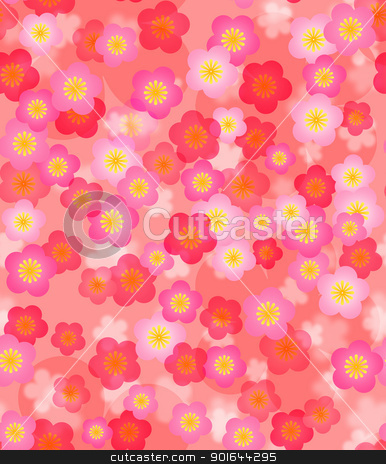 Spring Time Cherry Blossom Seamless Tile Background stock photo, Spring Time Cherry Blossom Seamless Tile Pattern Background Illustration by Jit Lim