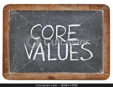 core values on blackboard stock photo, core values phrase - white chalk handwriting on a vintage slate blackboard, isolated by Marek Uliasz