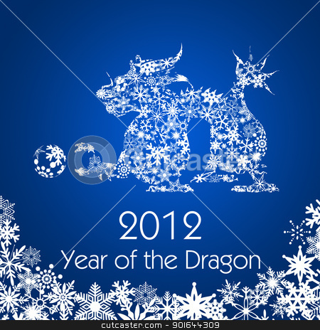 Chinese New Year Dragon with Snowflakes Pattern stock photo, 2012 Chinese New Year Dragon with Snowflakes Pattern on Blue Background by Jit Lim