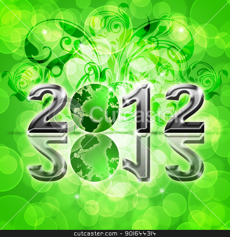 2012 Happy New Year World Globe stock photo, 2012 Happy New Year World Globe on Blurred Background Illustration by Jit Lim