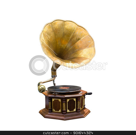 Retro old gramophone stock photo, Retro old gramophone with horn speaker by stoonn