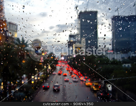 Rain in Sin City stock photo, Raindrops obscure the city scene in Las Vegas Nevada by emattil