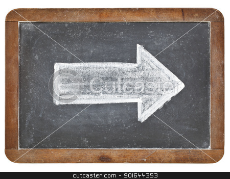 white arrow on blackboard stock photo, arrow - white chalk drawing on a vintage isolated slate blackboard by Marek Uliasz