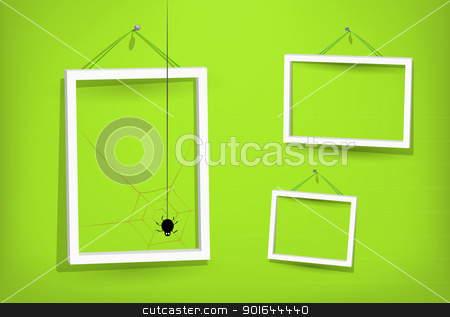 White frames on the wall stock photo, Small spider builds a web of light in green room with three frames for pictures on the wall. Eps10. Used opacity layers for effect of shadows by Imaster