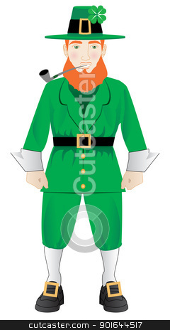 Leprechaun stock vector clipart, Vector Illustration of an Irish leprechaun with a pipe by Basheera Hassanali