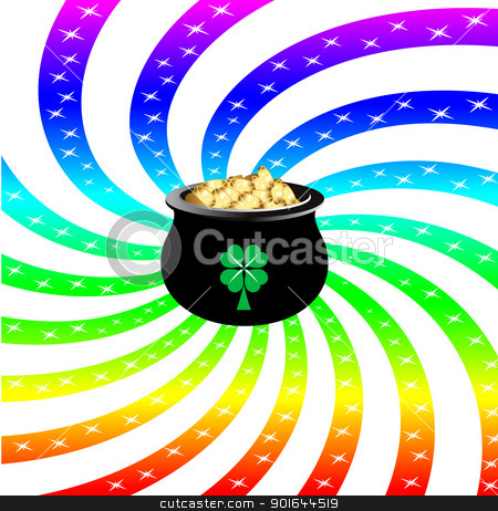 Rainbow Sparkle Pot stock vector clipart, Vector Illustration for St Patricks Day. Rainbow sparkle pot. by Basheera Hassanali