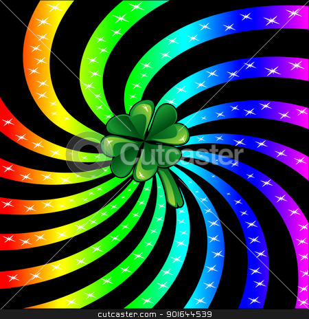 Rainbow Sparkle Shamrock stock vector clipart, Vector Illustration for St Patricks Day. Rainbow sparkle shamrock. by Basheera Hassanali