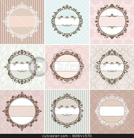set of vintage floral frame stock vector clipart, set of vintage floral frame vector illustration by SelenaMay
