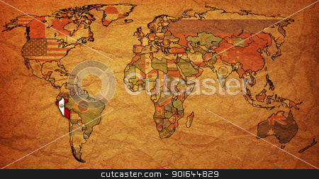 peru stock photo, old political map of world with flag of peru by michal812