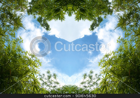 Bamboo sky  stock photo, Bamboo foliage with heart shaped blue sky by Exsodus
