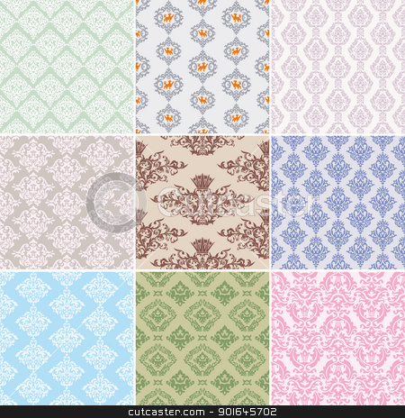 seamless retro background stock vector clipart, set of seamless retro background vector illustration by SelenaMay