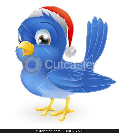 Blue bird in Santa Claus hat stock vector clipart, A cartoon blue bird in Christmas Santa hat illustration by Christos Georghiou