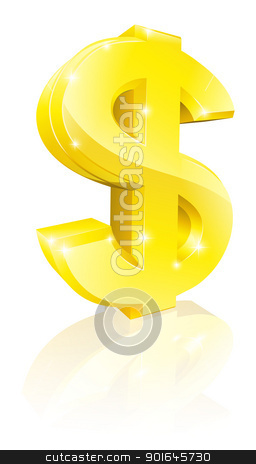 Gold dollar sign stock vector clipart, Illustration of a big shiny gold dollar currency sign by Christos Georghiou