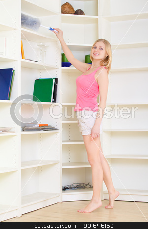 Blond at Homework stock photo, gorgeous blond housewife at homework in bright room by Petr Malyshev